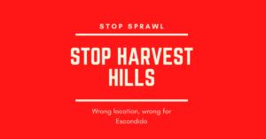 Stop Harvest Hills logo on red background